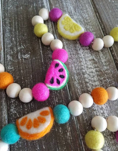 Fruit garland. Felt watermelon, lemon, orange. 4ft