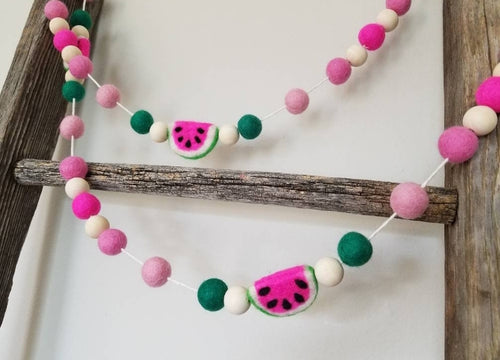 Pink Watermelon garland. Felt watermelons. 5.5ft