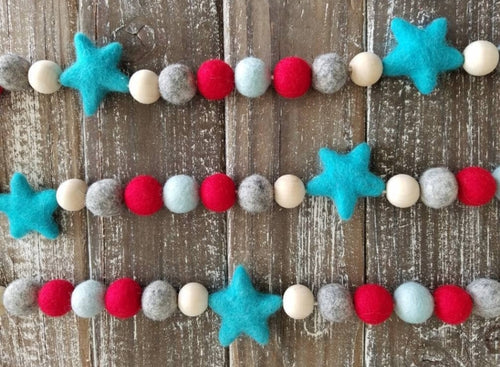 4th of July garland, red white and blue garland, stars. 5ft
