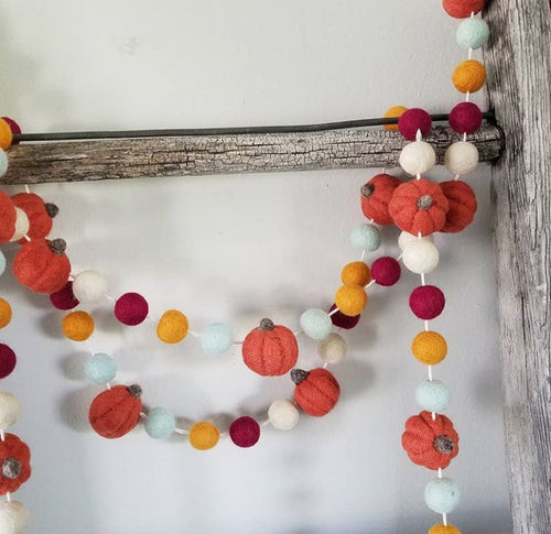 Burnt orange pumpkin and fall colors garland. 5.5ft