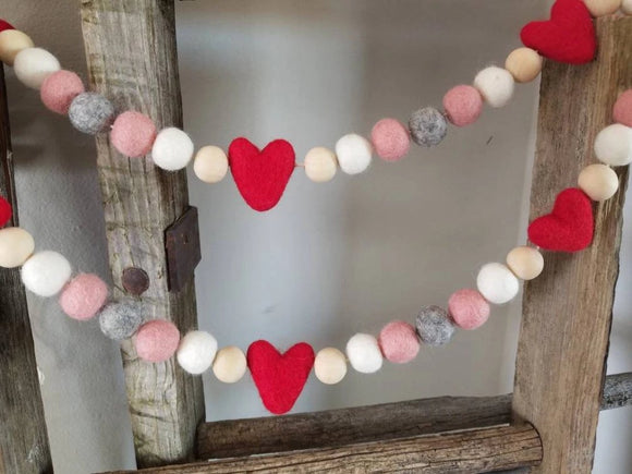 Heart Garland 5 ft Valentine Pink Red Gray Love