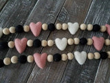 Heart Garland Valentine 5 ft Pink White