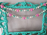 Valentine garland decor pink and mint felt heart, felt ball Garland Valentine Garland 5ft