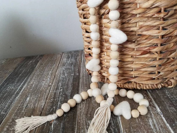 white heart and tassel garland