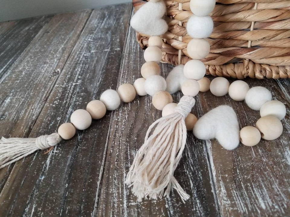 Wood bead garland, felt ball, white heart, tassels. 5.5 ft. Wedding.