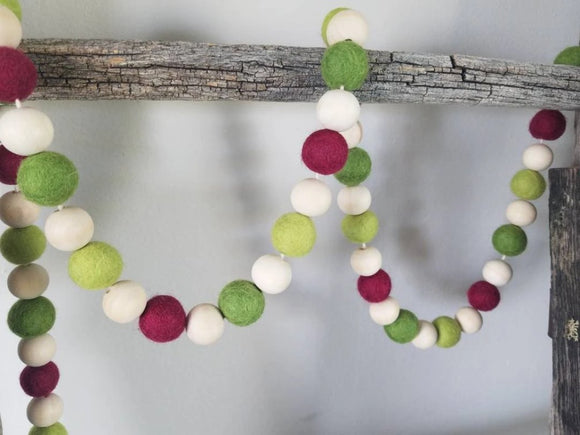 Cranberry & Two Greens Garland