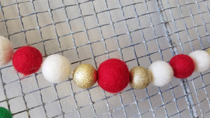 Christmas garland. Felt ball garland. Christmas Tree garland. 5.5ft. Holiday garland. Red and gold. Red and white garland.