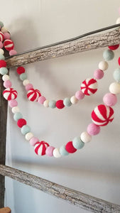 Peppermint garland. Candy garland. Christmas garland. Christmas candy Garland. Red and white. Christmas decor.