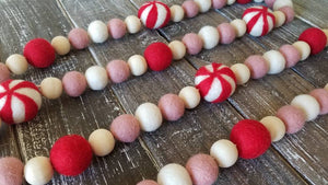 Peppermint garland. Candy garland. Christmas garland. Christmas candy Garland. Red and white. Christmas decor. Blush garland. Pink and red