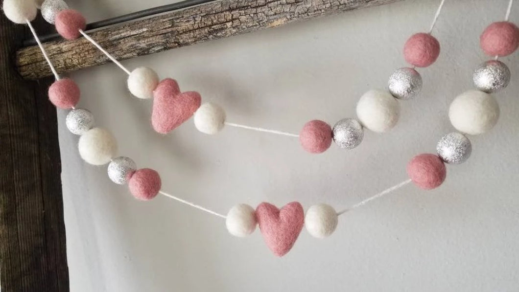 Pink Heart with Silver Garland