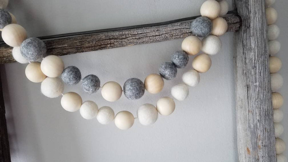 Large Bead Garland. Felt ball garland. Jumbo garland. 5ft