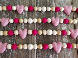 Pink Heart and Gold Garland