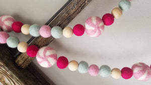 Candy garland. Candy land. Felt garland. Pink. Candy. Party garland