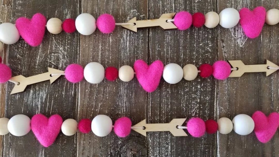 pink heart and wood arrows garland