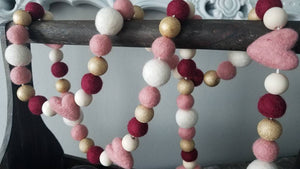 Pink heart garland. Blush, gold, maroon and white. Valentines. Heart. Wedding. 5 ft.
