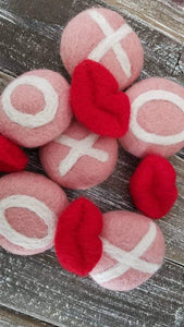 Valentine decor. Vase filler. Hugs and kisses. Decor. Felt balls. X and O. Valentine feltie.
