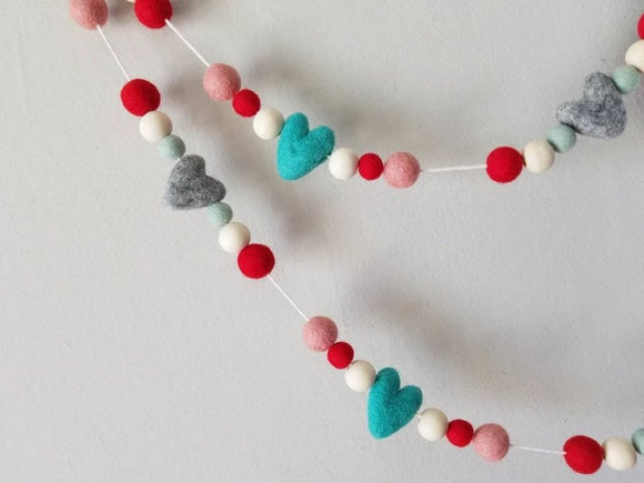 Turquoise Gray Heart Garland