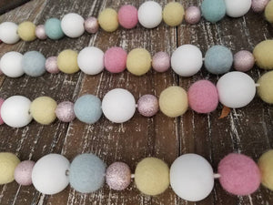 Felt ball garland. Wood bead garland. Girls room decor. Spring garland. Nursery. 5ft