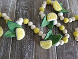 Lemon garland. Lemon decor. Summer. Tiered tray decor. Felt ball.