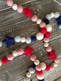 4th of July garland, red white and blue garland, patriotic decor, stars. 5ft