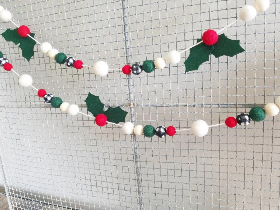 Holly and Buffalo Plaid Garland