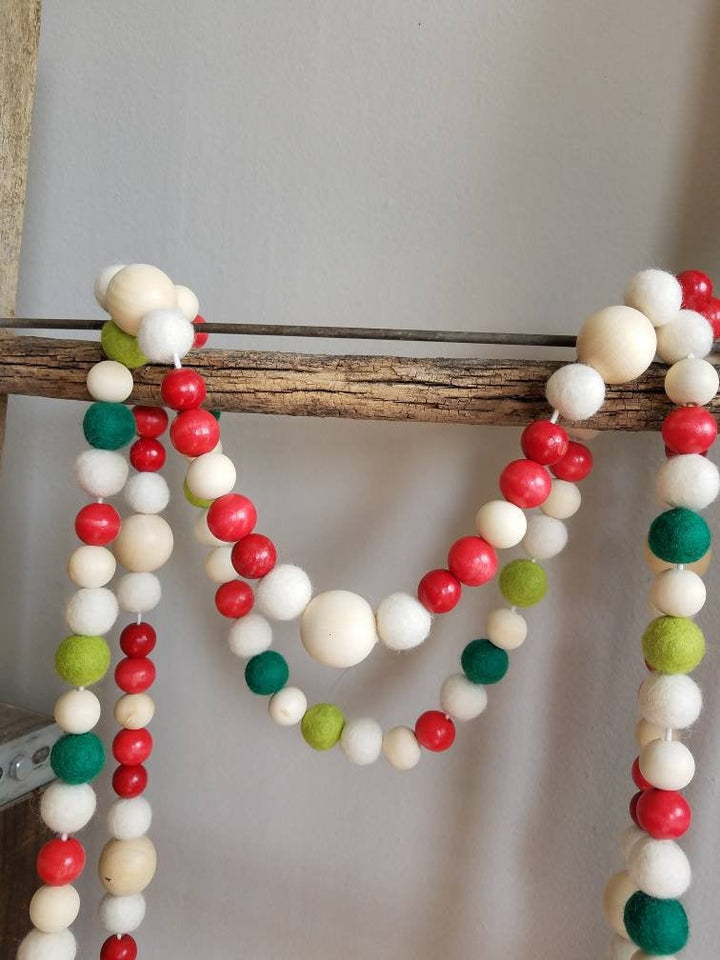 Red and white garland. Christmas tree garland. Felt ball garland. 5.5ft