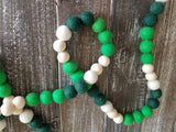 Felt ball garland. St. Patrick's. Green garland. Christmas. 5.5 ft