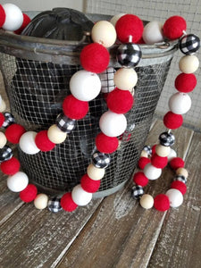 buffalo plaid and red felt ball garland