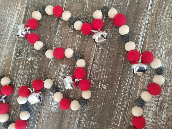 Christmas garland.Santa bells. Bell garland. Christmas Tree garland. Holiday garland. Silver bells. Wood bead garland. Christmas bells.