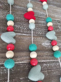 Red and Turquoise heart garland. Valentine garland. Felt hearts. 5.5ft