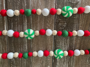 Green Peppermint garland. Candy garland. Christmas garland. Christmas candy Garland. Red and green. Christmas decor.