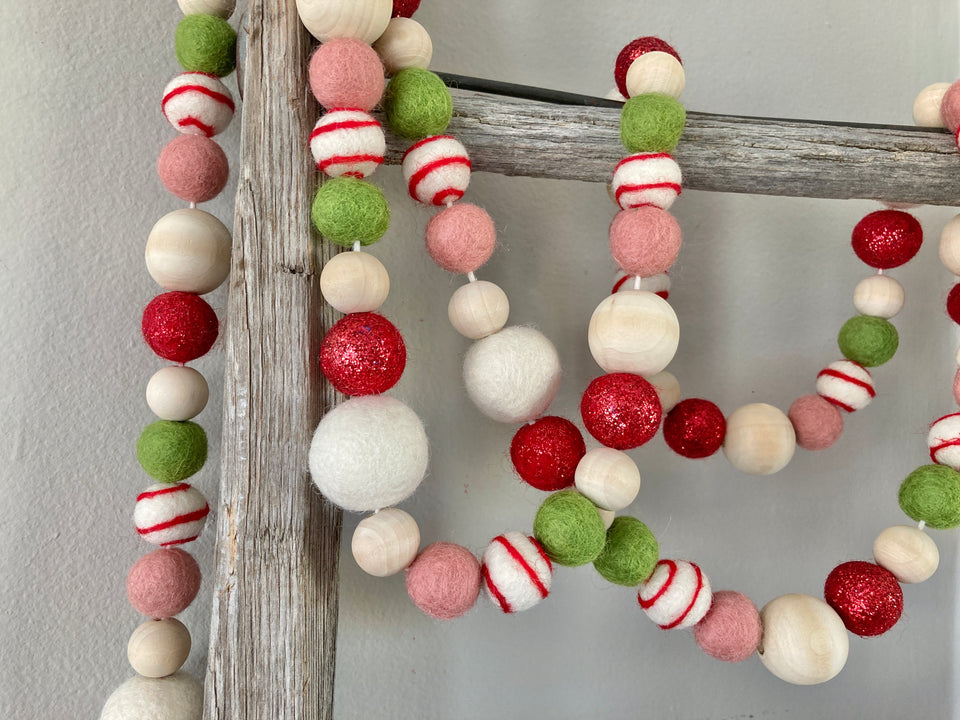 Red and green Christmas tree decoration. Christmas tree garland. Christmas decor.  Christmas garland. Holiday decoration. 5ft