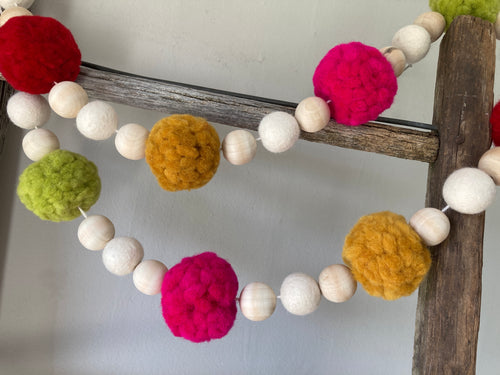 Pom Pom garland. Colorful large Pom Pom decor 3.5ft