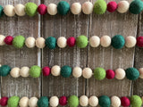 Cranberry and green Christmas Garland. Christmas tree garland. Wood beads. Felt Christmas garland. 5.5ft