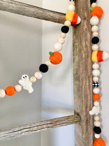 Halloween Garland. Candy corn, pumpkin and ghost garland. 5.5ft