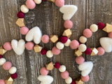 Heart garland. Blush, gold, maroon and white. Valentines garland. Heart. Wedding. 5 ft.