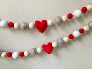 Valentine glitter Garland. Red heart garland. Felt ball Garland. Heart garland. 5.5ft