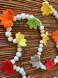Fall leaf garland. Felted leaves 5ft