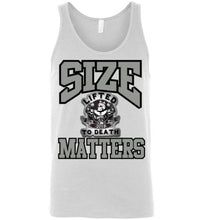 "Load image into Gallery viewer, Lifted To Death ""Size Matters"" canvas unisex tank"