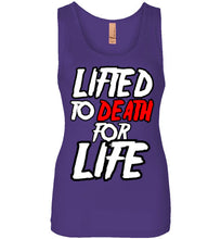 "Load image into Gallery viewer, Lifted To Death ""For Life"" Bold Womens Jersey Tank"