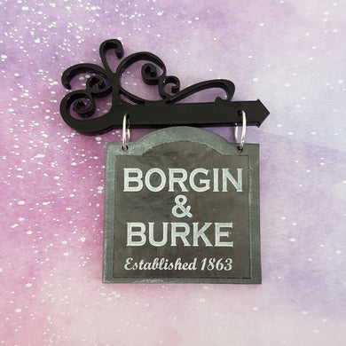 BORGIN AND BURKE swinging shop sign brooch