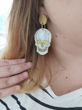 Load image into Gallery viewer, PRE ORDER Skull gold and marble white Halloween earrings