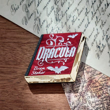 Load image into Gallery viewer, Dracula book brooch - blood red and natural wood