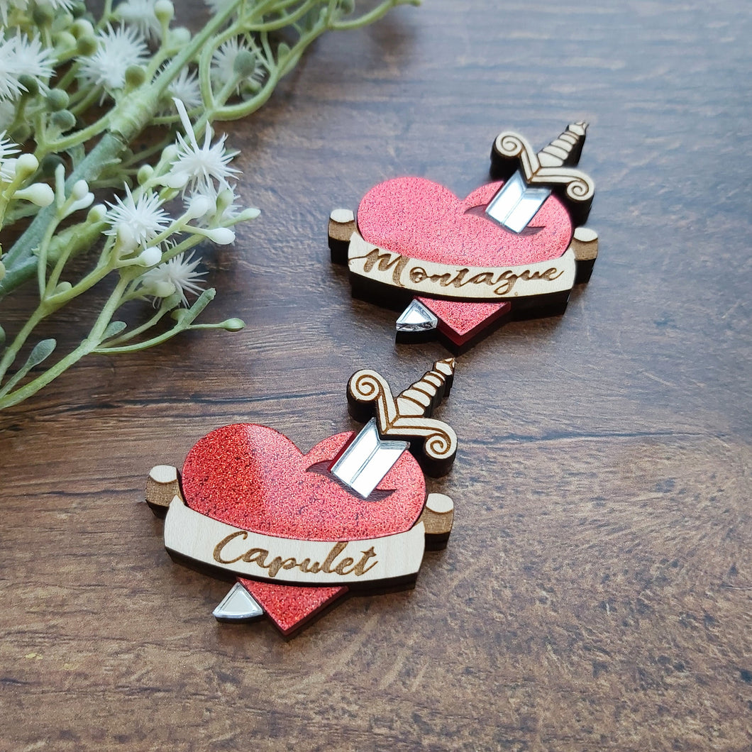Romeo and Juliet inspired brooch - CUSTOM OPTIONS AVAILABLE