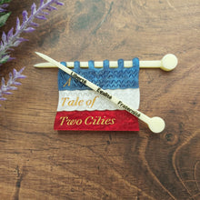 Load image into Gallery viewer, A Tale of Two Cities knitting flag brooch