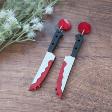 Load image into Gallery viewer, Statement horror themed knife drop Halloween earrings