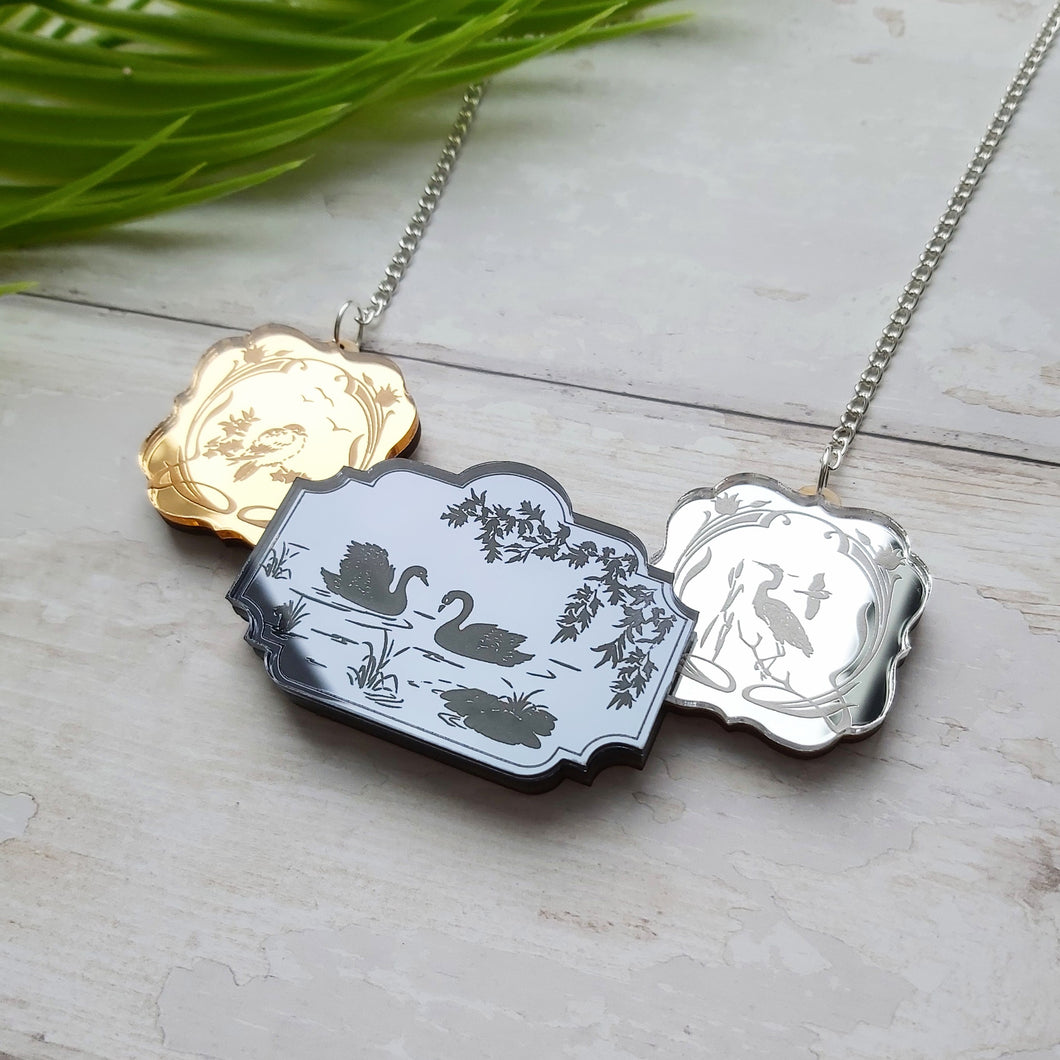 PRE-ORDER Etched triptych mirrors necklace