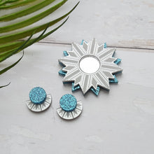 Load image into Gallery viewer, PRE-ORDER Silver and blue sunburst stud earrings
