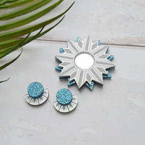 PRE-ORDER Silver and blue sunburst stud earrings