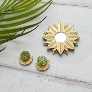 PRE-ORDER Gold and green sunburst stud earrings